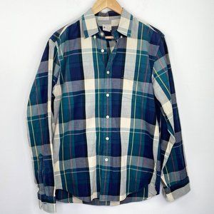 J. Crew Factory Sunwashed Oxford Plaid Shirt M